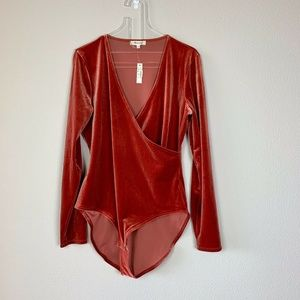 Madewell Blood-orange Velvet Body Suit Size XL NWT